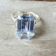 Aquamarine Ring, 925 Sterling Silver Setting, Gemstone Jewelry, Emerald Cut Aquamarine, Eight Prong Setting