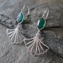 Art Deco Earrings - Emerald Green Drop Earrings, 30s Jewellery, Gemstone