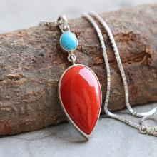 Artisan Coral turquoise pendant - Drop pendant - Bezel set pendant - Gemstone pendant