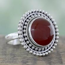Artisan Crafted Carnelian and Sterling Silver Cocktail Ring, 'Tangerine Sunset