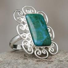Artisan Crafted Chrysocolla and Sterling Silver Ring, 'Andean Purity'.
