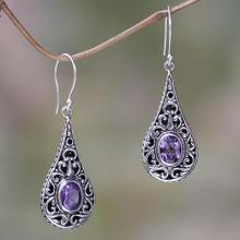 Artisan Crafted Earrings with Sterling Silver and Amethyst, 'Balinese Dew'