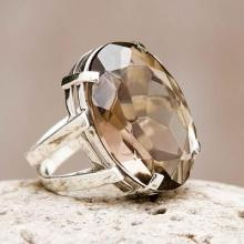 Artisan Crafted Jewelry Smoky Quartz Ring from Peru, 'Joy of Life