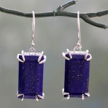 Artisan Crafted Lapis Lazuli Sterling Silver 925 Earrings, 'Deep Blue Romance'