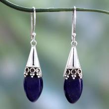 Artisan Crafted Lapis Lazuli and Sterling Silver Earrings, 'Regal'