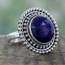 Artisan Crafted Lapis Lazuli and Sterling Silver Ring, 'Royal Sunset'