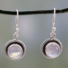 Artisan Crafted Moonstone Sterling Silver Women's Jewelry, 'Moon Over India'