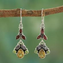 Artisan Crafted Multi-gemstone Earrings, 'Tropical Elegance'