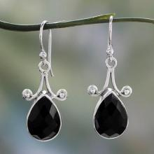 Artisan Crafted Onyx and Sterling Silver Jewelry, 'Himalaya Muse'