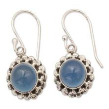 Artisan Crafted Silver and Blue Chalcedony Earrings India, 'Eternally Blue'