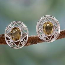 Artisan Crafted Silver and Citrine Earrings, 'Tropical Sunshine'