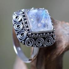 Artisan Crafted Sterling Silver Ring with Rainbow Moonstone, 'Celuk Treasure