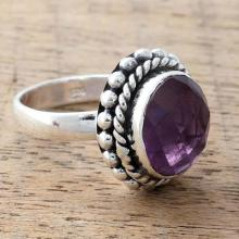 Artisan Crafted Sterling Silver and Amethyst Cocktail Ring, 'Enamored by Twilight'