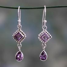 Artisan Crafted Sterling Silver and Amethyst Earrings, 'Purple Spark'