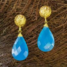 Artisan Jewelry Gold Vermeil Chalcedony Handcrafted Earrings, 'Blue Serenade'