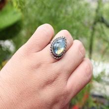 Artisan Labradorite Ring - Bezel set ring - Gemstone ring - Sterling silver ring - drop ring - Gift for her