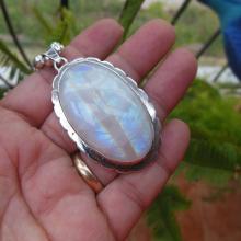 Artisan Rainbow Moonstone pendant necklace - OOAk - Oval pendant - Bezel pendant - Gemstone pendan