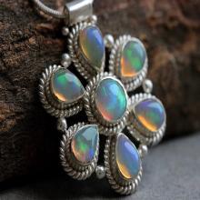 Artisan pendant - Ethiopian opal pendant - Natural Opal pendant - Gemstone - flower pendant