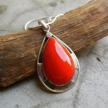 Artisan pendant - coral pendant - Red Coral pendant - Bezel pendant - drop pendant - Gemstone pendant