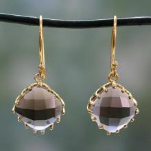 Artisanal Gold Vermeil Faceted Smoky Quartz Earrings, 'Eternal Romance'