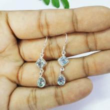 Attractive BLUE TOPAZ Gemstone Earrings - Birthstone Earrings - Fashion Beach Earrings - Handmade Earrings - Dangle Earrings