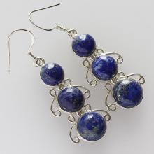 Attractive Lapis Lazuli Earring, A Stone Of Protection, Blue Color , Solid Sterling Silver Gemstone