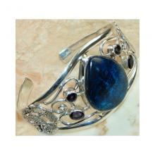 Azurite, Amethyst Faceted Bangle 925 Sterling Silver