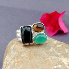 BLACK ONYX & TIGERS Eye Ring -Size 7 Ring - 925 Sterling Silver Ring - Multi Gemstone Ring