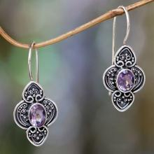 Balinese Amethyst and Sterling Silver Dangle Earrings, 'Purple Water Hyacinth'