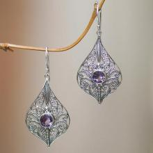 Balinese Style Amethyst and Sterling Silver Dangle Earrings, 'Shine On'