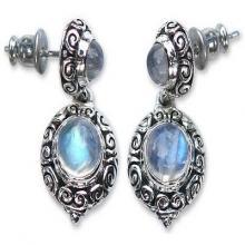 Balinese Style Rainbow Moonstone Dangle Earrings, 'Infinite Sky'