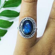 Beautiful FIRE NATURAL LABRADORITE Gemstone Ring - Birthstone Ring - 925 Sterling Silver Ring - Fashion Ring - Wedding Ring