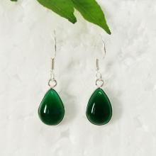 Beautiful GREEN ONYX Gemstone Earrings - Birthstone Earrings - Fashion Beach Earrings - Handmade Earrings - Dangle Earrings