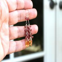 Beer Quartz Garnet Earrings Gemstone Sterling Silver Cluster Cascade, Red and Gold Dangle