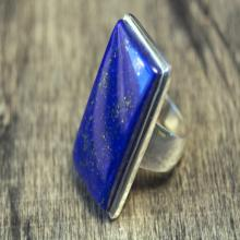 Big blue Lapis Lazuli 925 silver ring  size 57 cabochon sterling silver ring  gift  rarity  rare  Gemstone ring