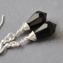 Black Crystal Earrings - Swarovski Crystal Drop Earrings - Jet Black Earrings - Wire Wrapped Earrings - Handmade Sterling Silver Jewelry