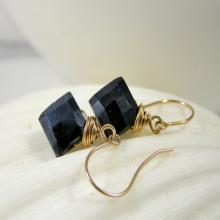 Black Dangle Earrings, Black Spinel Earrings, Tiny Black Dangles, Kite Dangles, Pointy Gemstone