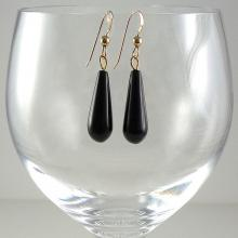 Black Obsidian Earrings Gemstone Earrings Black Gemstone Earrings Black and Gold Earrings Shiny Black Dangle Earrings
