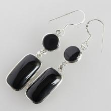 Black Onyx Earring , Solid Sterling Silver Gemstone
