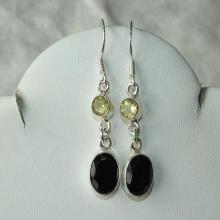Black Onyx Earrings Elegant Handmade Yellow Topaz Semiprecious Gemstone Earrings Sterling Silver