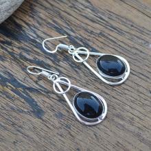 Black Onyx Gemstone Earrings Jewelry, 925 Silver Handmade Jewelry, December Women's Birthstone Gift Dangle Earrings