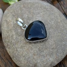 Black Onyx Gemstone Pendant - Heart Shape Artisan Handmade 925 Silver Jewelry - Bezel Set Birthstone Pendant - Unique Gift Jewelry