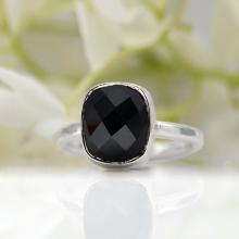 Black Onyx Ring - Gemstone Ring - Stacking Ring - Sterling silver Ring - Square Ring - bezel Set Ring - cushion cut ring, black onyx jewelry