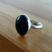 Black Onyx Ring, Onyx Gemstone Ring, Black Stone Ring, Silver round Stone Ring, Gemstone Ring, bridal ring