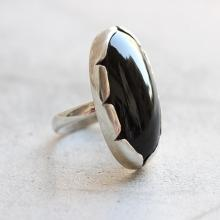 Black onyx artisan Ring - black onyx ring - Oval ring - Bezel ring - Artisan ring - Sterling silver