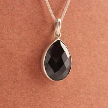 Black pendant - Black onyx pendant - Bezel pendant - Tear drop pendant - Faceted pendant