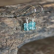Blue Apatite Gemstone Dangle Earrings; Sterling Silver; Gemstone Jewelry; Gemstone Earrings; Blue Earrings; Beaded; Wire Wrapped
