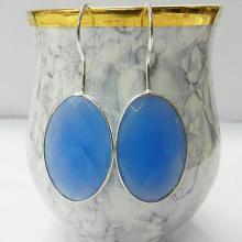 Blue Chalcedony - Amethyst hydro - Pyrite - Pearl - Peridot hydro - Gemstone earring - Bezel - sterling Silver Earring
