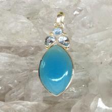 Blue Chalcedony Blue Topaz Pendant Blue Chalcedony Pendant Chalcedony Jewelry Gemstone Pendant Blue PendantOcean Jewelry