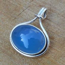 Blue Chalcedony Pendant - Sterling Silver Pendant - Natural Stone Pendant - Silver Jewelry - Gemstone Jewelry - Semiprecious Pendant